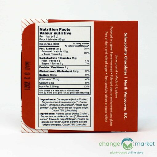 Coffee Schoccolatta Raw Vegan Chocolate Back 510x510, Change Market